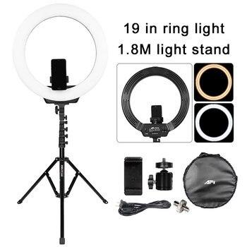 19 in Photographic Lighting 3200K-5600K 320Pcs Led Ring Lamp Dimmable Camera Photo Studio Phone Makeup Ring Light Tripod