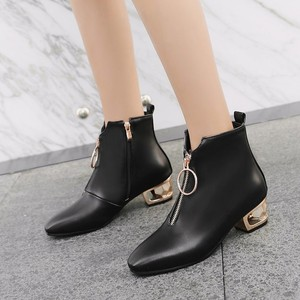Image 2 - Women Boots Autumn Winter Med Heel Warm Pu Square Toe Zip Ankle Chelsea Martin Shoe 2018 New Sexy Fashion Casual Black Brown
