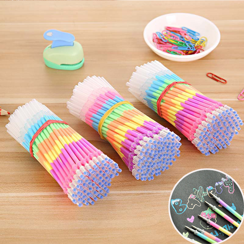 10pcs/lot Multi Color Rainbow Highlighters Gel Pen Refills For Students DIY Painting Graffiti Fluorescent Refill School Supply