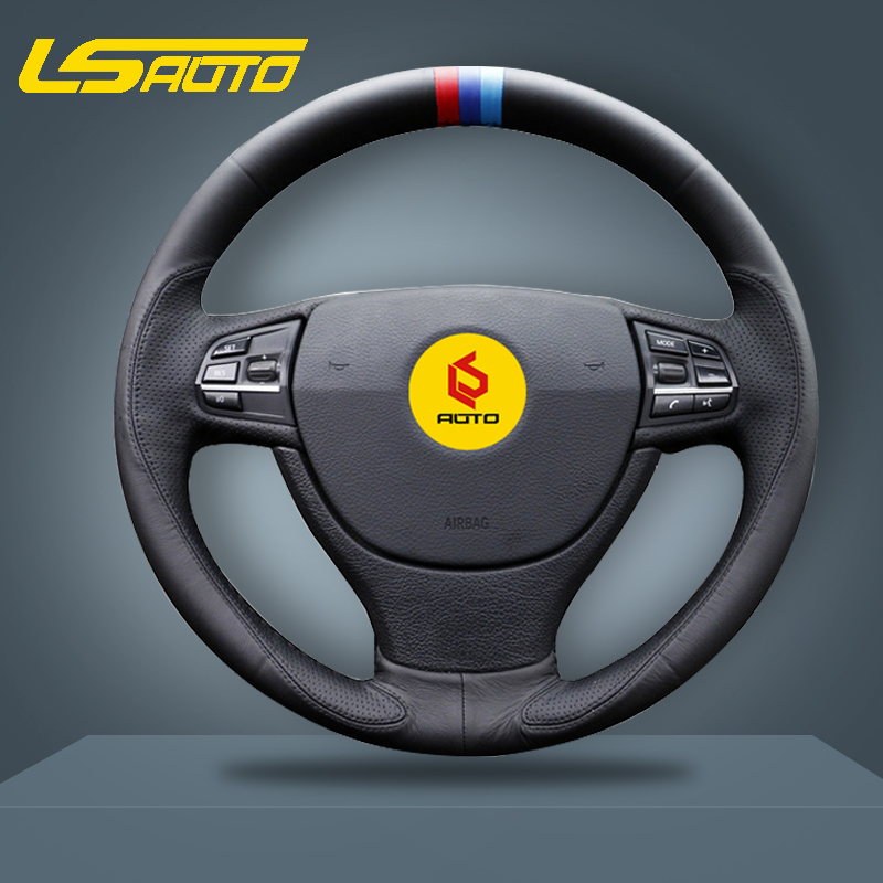 Black Genuine Leather Steering Wheel Cover for BMW 5 Series F07 F10 F11 F18 F01