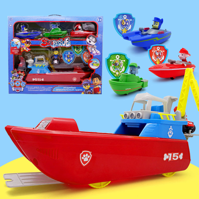 Paw Patrol Boat Pattulla Canina Ferry Yacht Sea Rescue Boat Cartoon Character Figure Doll Children's Toy Birthday Gift Wholesale