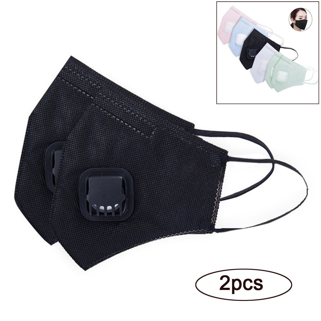 2PCS Disposable Solid Color Mask With Sponge Strip Valve N95 Particulate Respirator Non-woven Mouth Nose Mask Sports Dustproof