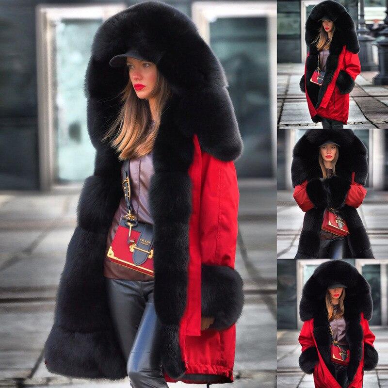 2019 haute qualité veste Femme fourrure Parka hiver manteau pour femmes à capuche longue Parka Femme coton doublure chaude femmes vêtements d'hiver