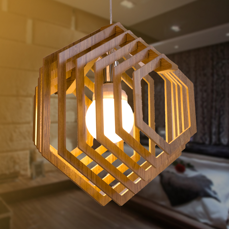 Japanese Loft Vintage Wood Pendant Lamp DIY Wooden Lampshade Creative Restaurant E27 Hanging Light LED Luminaire