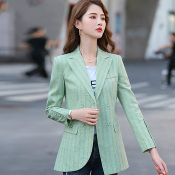 цена Stripe Korean Ladies Blazer Pink Loose Casual Vintage Suit Jacket Blazer Noir Femme Stylish Office Women Blazer Spring MM60NXZ онлайн в 2017 году