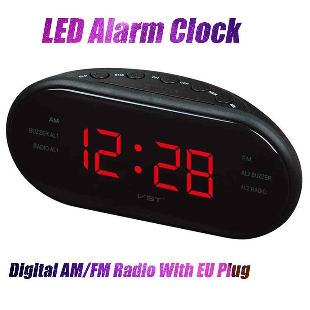 Nieuwe Stijl 17*6*8.5 Cm Moderne Am/Fm Led Klok Radio Elektronische Desktop Wekker Digitale tafel Klokken Snooze Functie