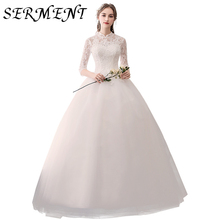 2019 Spring and Summer New Bride Wedding Korean Style Qi Temperament Lace Small Stand Collar Sleeve White Dress