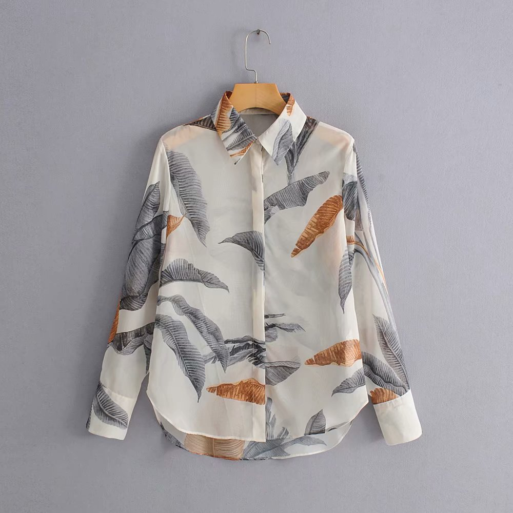 2019 women vintage leaves print casual slim business blouse shirts women long sleeve office wear blusas chic summer tops LS3872