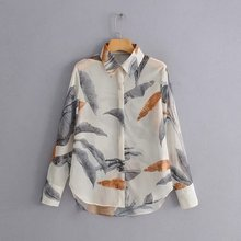 2019 women vintage leaves print casual slim business blouse shirts