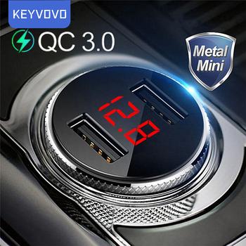 QC 3 0 metalowa podwójna ładowarka samochodowa USB telefon LED cyfrowy wyświetlacz dla iPhone Xiaomi Samsung Huawei szybkie monitorowanie napięcia ładowania tanie i dobre opinie Keyvovo ROHS Szybkie ładowanie Qualcomm CN (pochodzenie) 2 porty A car charger Gniazdo zapalniczki samochodowej 2 USB Car charger