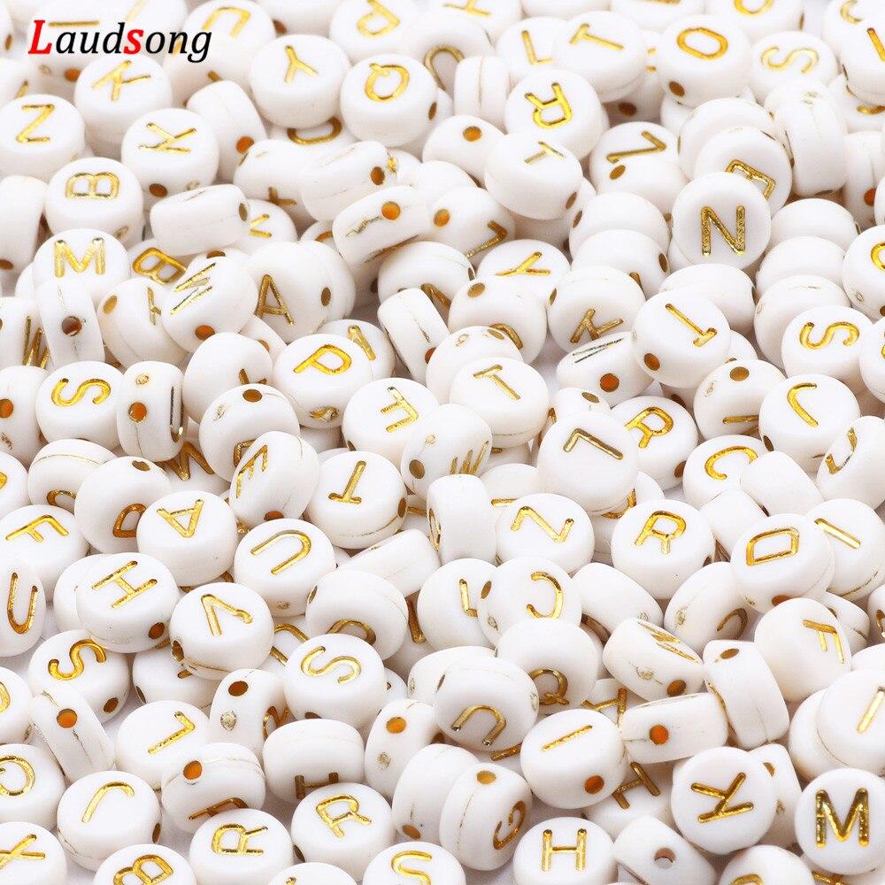 7 мм белый и золотой буквы круглые акриловые бусины с плоским свободные шарики алфавита для изготовления украшений вручную браслетов или бу...