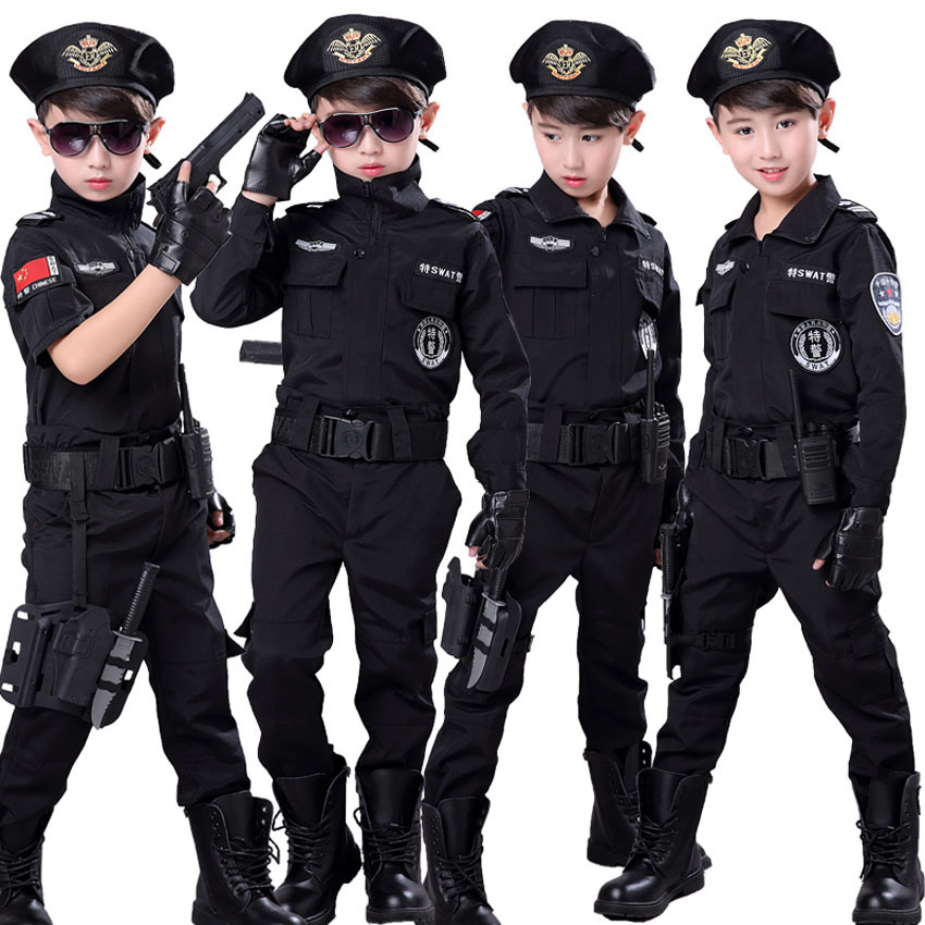 Halloween Policeman Cosplay Costumes For Boys Kids Girls Speciral Force Combat Tactical Black Jacket SWAT Clothing With Belt