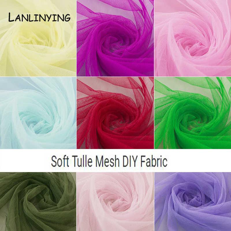 Neue Ankunft 10Meter Weichen Tüll Verschlüsselt Mesh Stoff Für Hochzeit Kleid Tuch Einfarbig Netting Moskito Rock D727