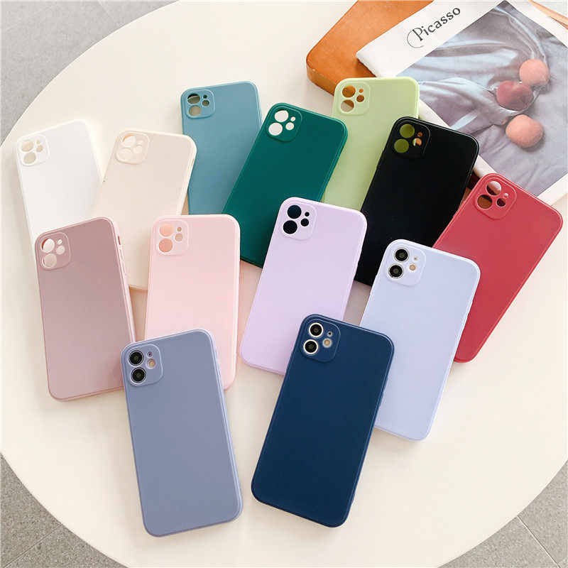 Solid color Matte Soft TPU Phone Case For iPhone 12 Mini 12 Pro Max 11 Pro Max SE 20 X XR XS Max 6 S 7 8 Plus cute Cover
