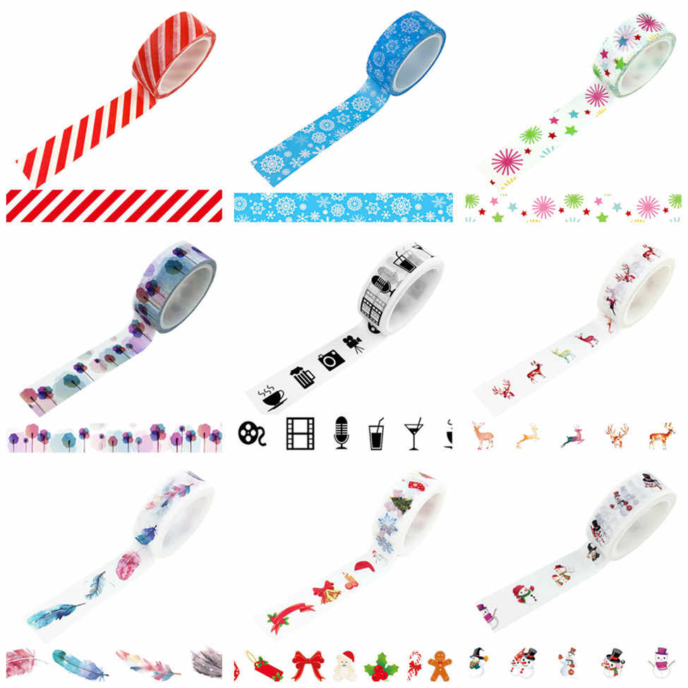 2M/5M*15MM Ice & Snow Washi Tape Japanese Paper DIY Planner Masking Tape Adhesive Tapes Stickers Decorative Stationery Tapes