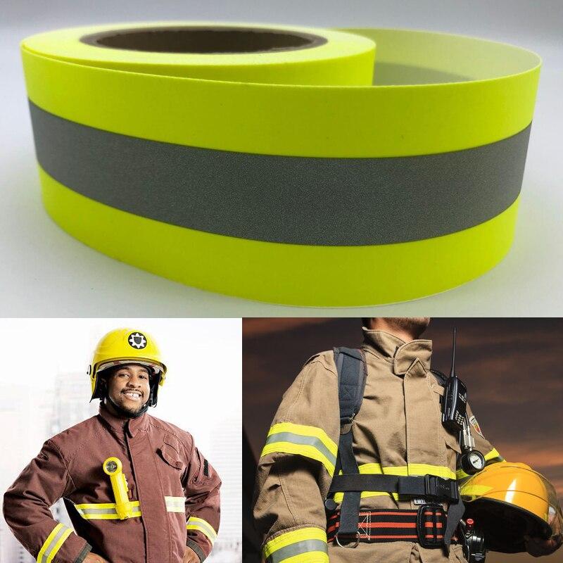 Флуоресцентный желтый пламени огнезащитный светоотражающий ткань Предупреждение ленты шить на одежде