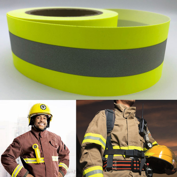 Fluorescent Yellow Flame Fire retardant Reflective Fabric Warning Tape  Sew On Clothes - discount item  45% OFF Workplace Safety Supplies