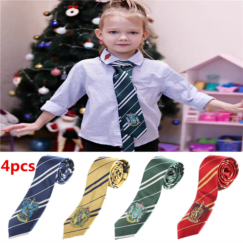 4Pcs Child&Adults Gryffindor Slytherin Potter Tie College Style Cosplay Costume Harris Necktie Scarf and Gloves Party Supplies