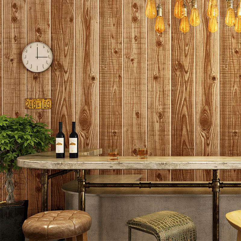 Chinese Style Retro Imitated Wood Di Ban Mu Texture Wallpaper Specialty Shops Tea House Cafe PVC Board Texture Wallpaper