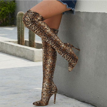 2020 Women Winter CAsaul Sexy Suede Shoes Snakeskin Over-Knee Pointed-Toe Thin High Heel Boots zipper knee high thin heel boots leather sexy red long boots high heel over knee pointed toe sexy party shoes