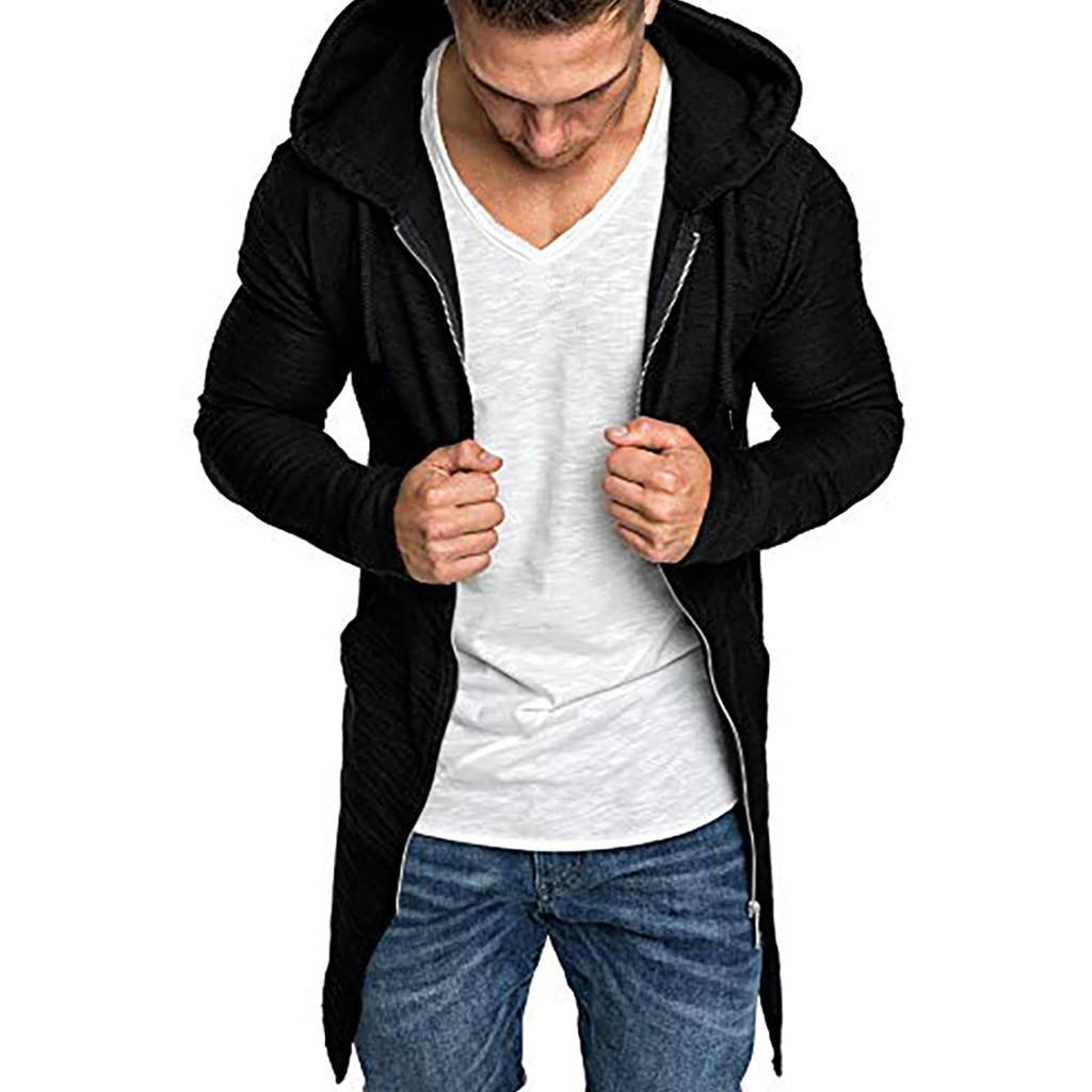 2019 New Arrival Men's Winter Jackets Men's Splicing Hooded Solid Trench Coat Jacket Cardigan Long Sleeve Outwear Sweatshirt