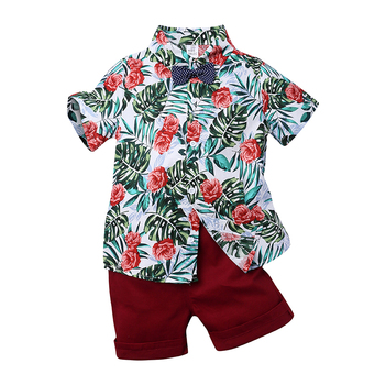 Boy Clothing Set fashion Summer T-Shirt Floral Children Boys Clothes Shorts Suit for Kids Outfit 1-6T Boys Outfit MB5331 1
