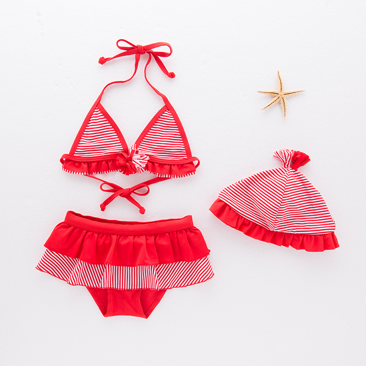 Girls' Two-piece Swimsuit Red And White Tiao Wen Kuan Swimwear Children Hot Springs Tour Bathing Suit