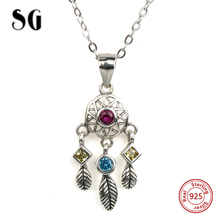 SG lovely dreamcatcher charms pendant necklace 925 silver chain with crystal CZ diy fashion jewelry for Valentines Day gifts