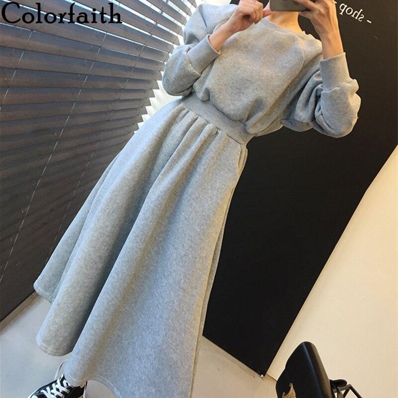 Colorfaith New 2019 Autumn Winter Women Dresses Thicken High Elastic Waist Casual Long Minimalist Pockets Warm Dress DR8248