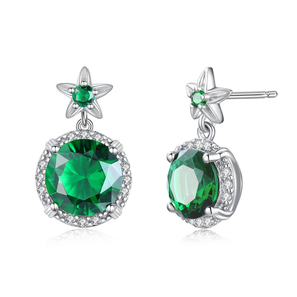 Szjinao Stud Earrings for Women Real 925 Sterling Silver Flower Earrings Fashion Jewelry Emerald With Diamond Engagement Gift