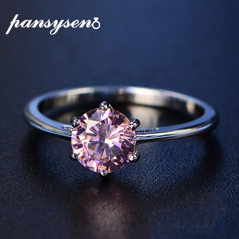 PANSYSEN Genuine 925 Sterling Silver Jewelry Wedding Rings For Women Pink White Red Green Blue Purple Gemstone Ring Size 4-12