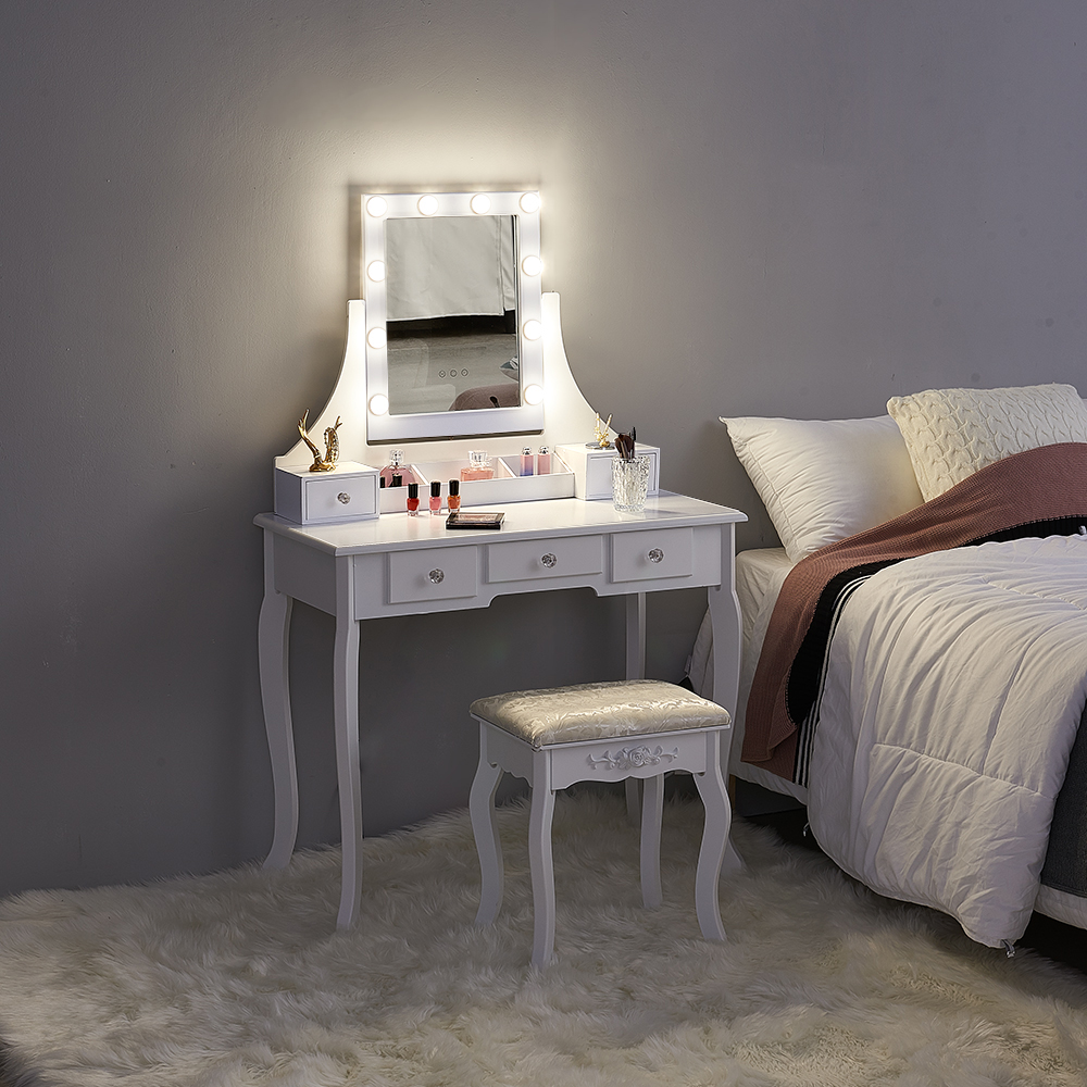Panana Vanity Dressing Table With Stool 5 Drawers Dimmable Bulbs Mirror Lights Dresser Bedroom Makeup Desk White