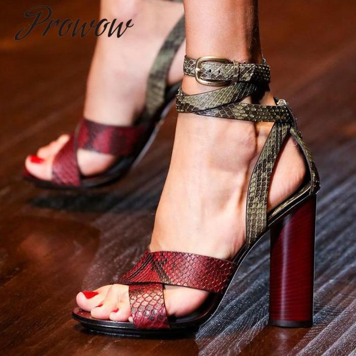Prowow New Burgundy Snakeskin Narrow Band Summer Sandals Open Toe Thick Heel HIgh Heel Sandals Shoes Women