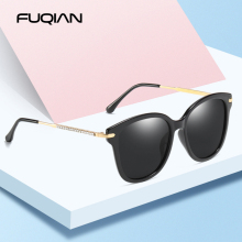 FUQIAN Brand New Cat Eye Polarized Lady Sunglasses Unique Design Diamond Temple Sunglass Beautiful Eyeglass UV400