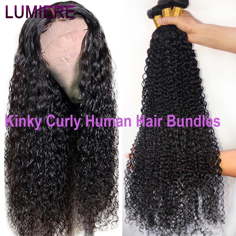 Lumiere 30 32 34 36 pulgadas rizado extensiones de cabello humano mongol extensiones de pelo ondulado cabello humano 3/4 mechones cabello Remy