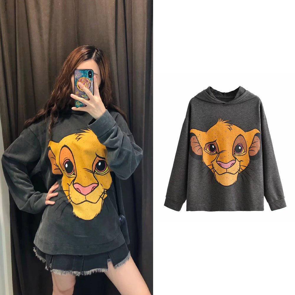 The Lion King Sweatshirt Women Clothing Carton Hooded Print Autumn Streetwear 2019 O Neck Long Sleeve Oversize Black Pullover