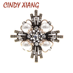 CINDY XIANG Shining Crystal Cross Brooches For Women Vintage Pearl Fashion Pin Winter Baroque Jewelry 2 Colors Avaibale Gift