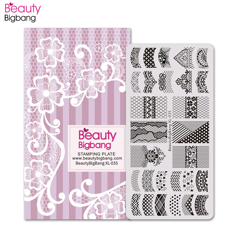 BeautyBigBang Lace Theme Nail Stamping Plates Sexy Image 6*12cm Stainless Steel Template Art Plate BBB XL-035