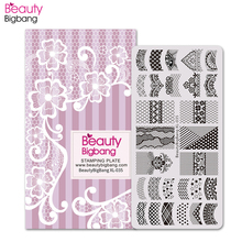 BeautyBigBang Lace Theme Nail Stamping Plates Sexy Image 6*12cm Stainless Steel Template Nail Art Stamping Plate BBB XL-035