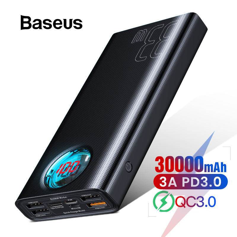 Baseus 30000mAh Power Bank Quick Charge 3.0 USB C PD Fast Charging Powerbank For IPhone Huawei Portable Exterbal Battery Charger