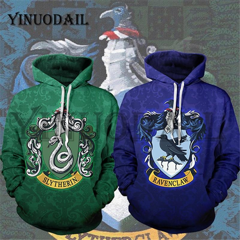 YINUODAIL Mens Sporting Hoodies Wizardry 3D Hoody Sweatshirt Hogwarts Ravenclaw Slytherin Bundle's Streetwear Cosplay Costume