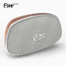 Eson style Retro Wooden Color Snooze Dual Alarm Clock with FM Radio Bluetooth Wireless Speaker ihome id95sz silver dual alarm with fm ipod