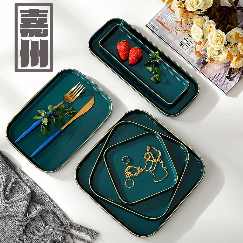 FANTERCY Tableware Dinner Plate European New Dark Green Ceramic Home Dining Western Restaurant Phnom Penh Dishes and Plates Sets