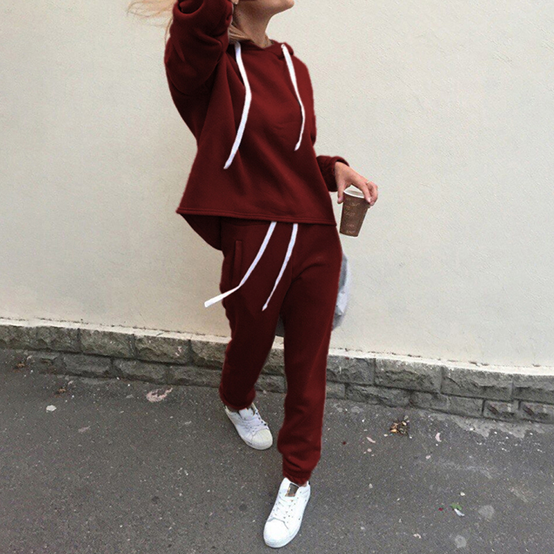2pcs Women Hoodies Casual Tracksuit Suits Sweatshirt+Sweatpants Set Warm Clothes Sweatsuit Female Soild Color Simple Style