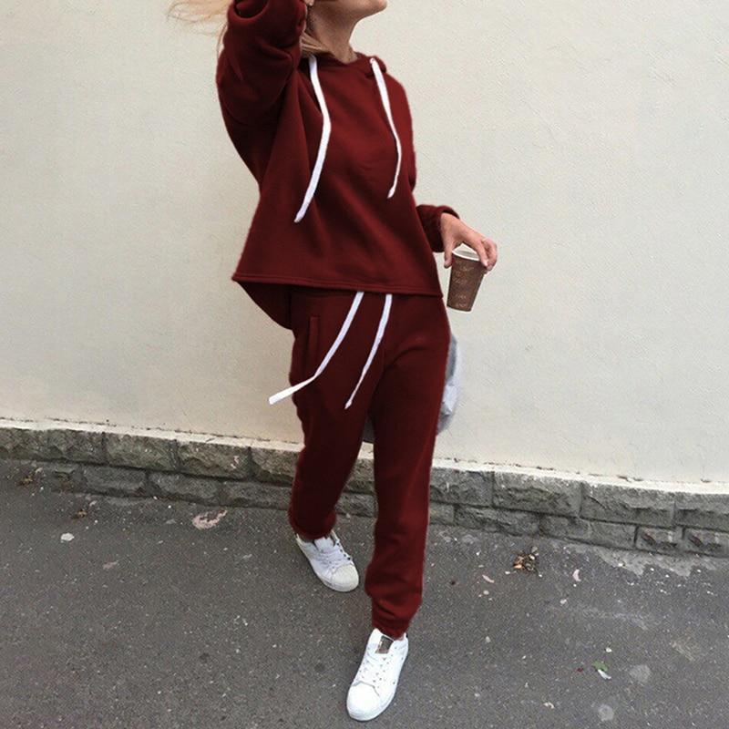 2pcs Women Hoodies Casual Tracksuit Suits Sweatshirt+Sweatpants Set Warm Clothes Sweatsuit Female Soild Color Simple Style