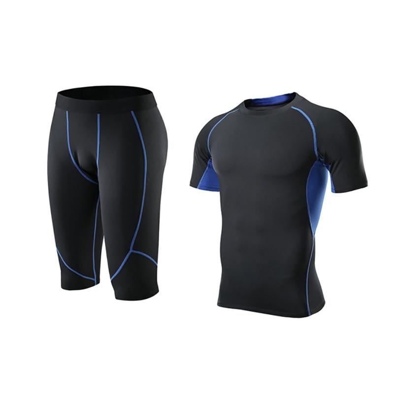 Мужская модная спортивная одежда, эластичная футболка для фитнеса, быстросохнущие топы, короткие штаны, спортивные облегающие укороченные брюки, шорты, комплект - Цвет: L