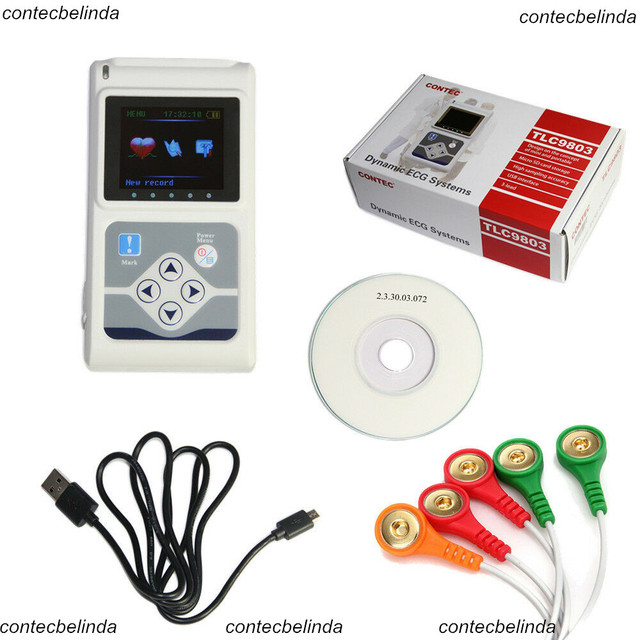 CONTEC TLC9803  ECG Holter Monitor Dynamic 3-channel 24h record System Software Analysis Factory Sale 1