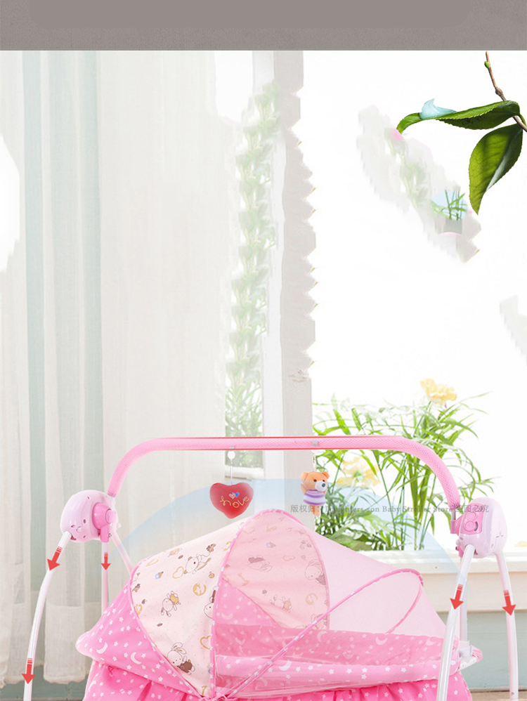 H5d81235fff30436b92e4d205cc7c94a28 For Newborns Bed Baby Electric Swing Newborn Bed Smart Cradle Children's Rocking Chair Bed Full Sets Cradle