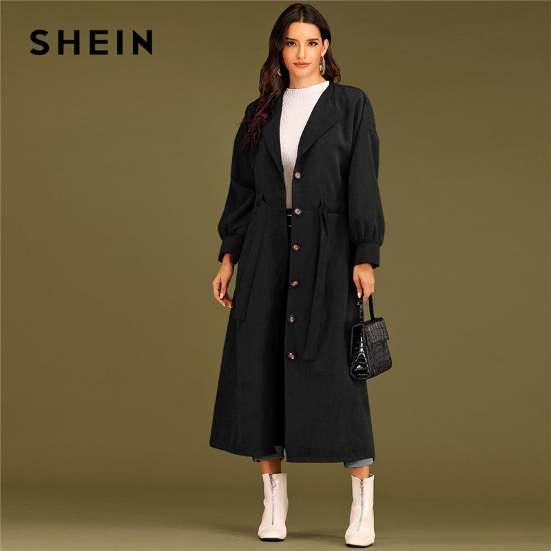 SHEIN Solid Waterfall Collar Single Breasted Drawstring Waist Elegant Long Coat Women Spring Streetwear Long Sleeve Trench Coats 1