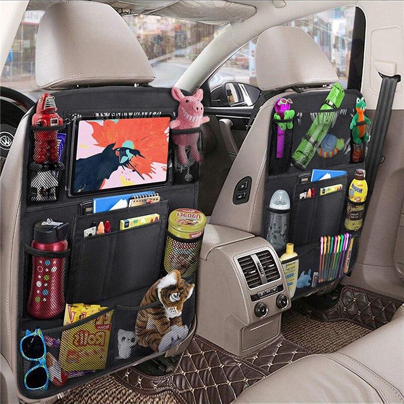 Органайзер для заднего сиденья автомобиля, сумка для хранения, многокарманные подвесные сумки, тканевые коврики, аксессуары для стайлинга ...